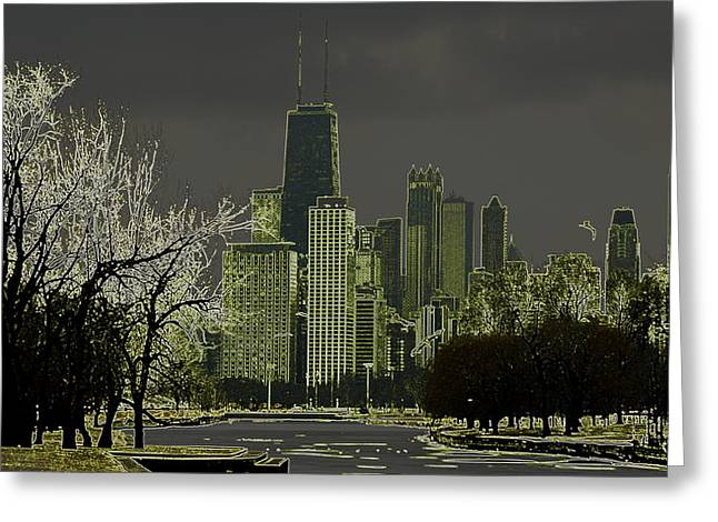 Lincoln Park Lagoon Greeting Cards - Chicago - Looking South Greeting Card by Greg Thiemeyer