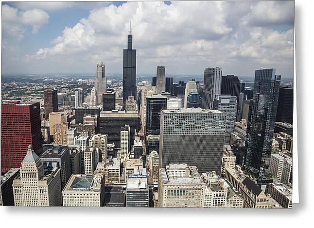 Haze Greeting Cards - Chicago Loop Aerial Greeting Card by Adam Romanowicz