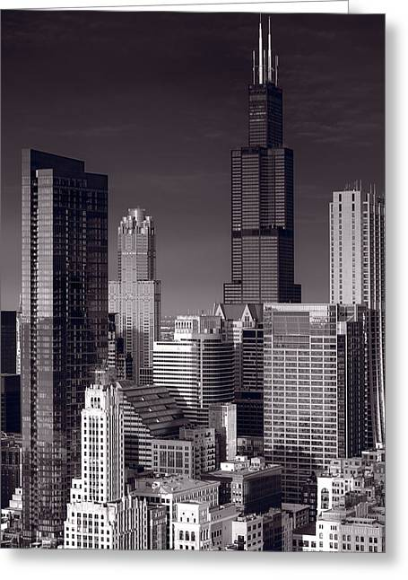 Chicago Black White Greeting Cards - Chicago Loop Towers BW Greeting Card by Steve Gadomski