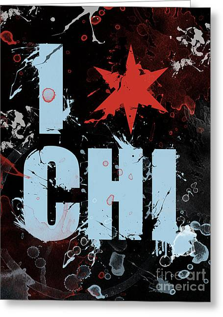 Stencil Spray Greeting Cards - Chicago Love Greeting Card by Mike Maher
