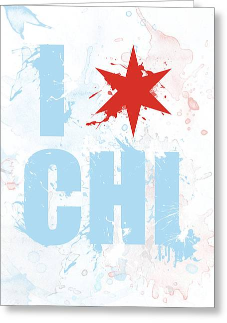 Stencil Art Greeting Cards - Chicago Love Too Greeting Card by Mike Maher