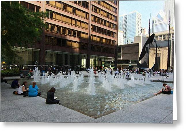 Daley Plaza Greeting Cards - Chicago - Lunchtime at Daley Plaza Greeting Card by Greg Thiemeyer