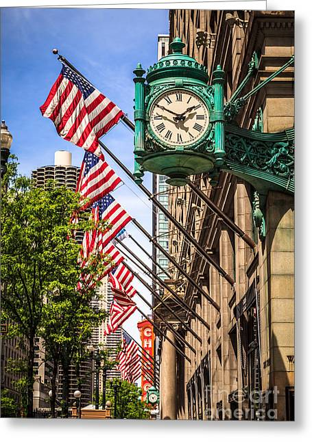Editorial Photographs Greeting Cards - Chicago Macys Clock and Chicago Theatre Sign Greeting Card by Paul Velgos