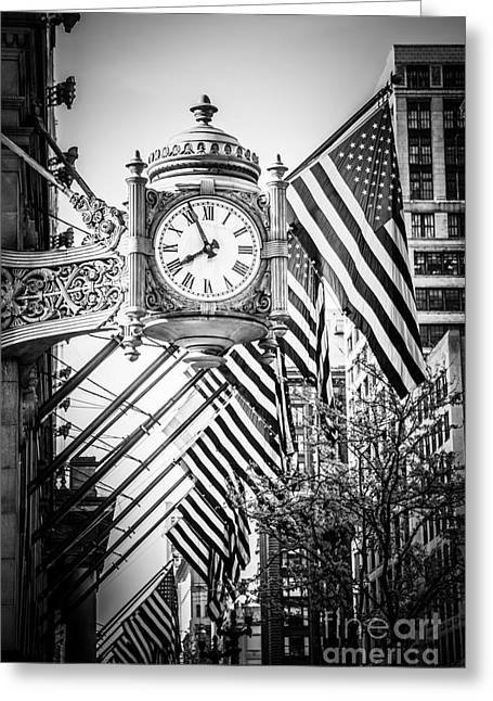 Macy Greeting Cards - Chicago Macys Clock in Black and White Greeting Card by Paul Velgos