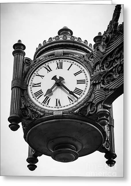 Marshall Greeting Cards - Chicago Macys Marshall Fields Clock in Black and White Greeting Card by Paul Velgos