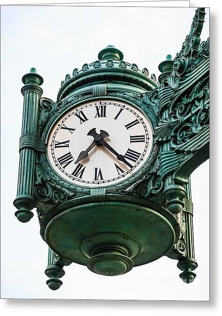 Marshall Greeting Cards - Chicago Macys Marshall Fields Clock Greeting Card by Paul Velgos