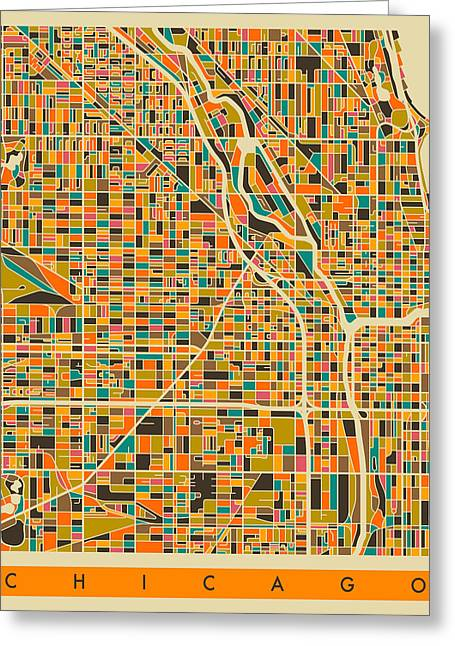 Abstract Retro Greeting Cards - Chicago Map Greeting Card by Jazzberry Blue