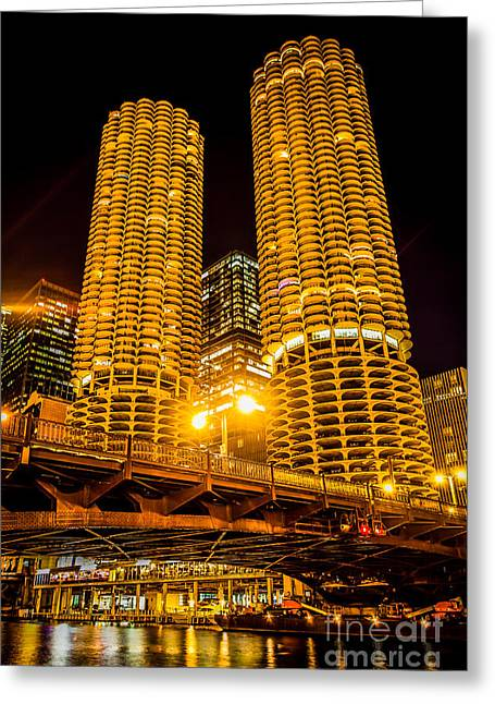 Marina Night Greeting Cards - Chicago Marina City Towers at Night Picture Greeting Card by Paul Velgos