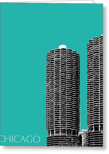 Pen And Ink Greeting Cards - Chicago Skyline Marina Towers - Teal Greeting Card by DB Artist
