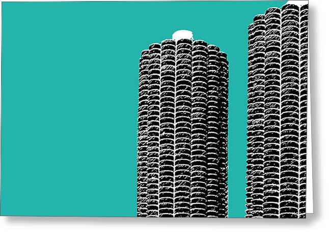 Chicago Skyline Marina Towers - Teal Greeting Card by DB Artist