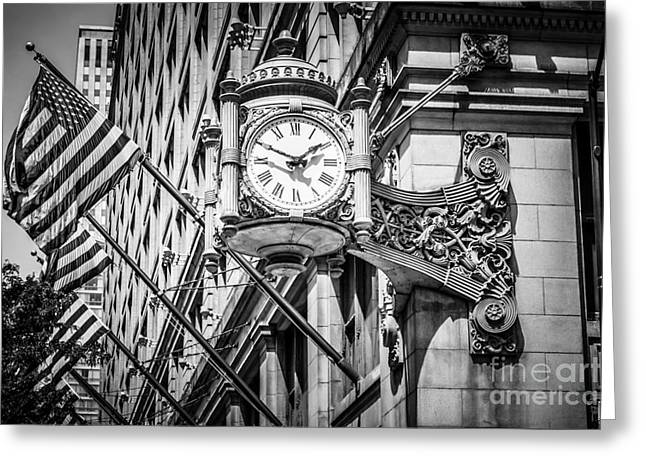Macys Greeting Cards - Chicago Marshall Fields Clock in Black and White Greeting Card by Paul Velgos