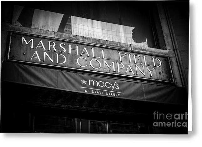 Macy Greeting Cards - Chicago Marshall Fields Macys Sign in Black and White Greeting Card by Paul Velgos