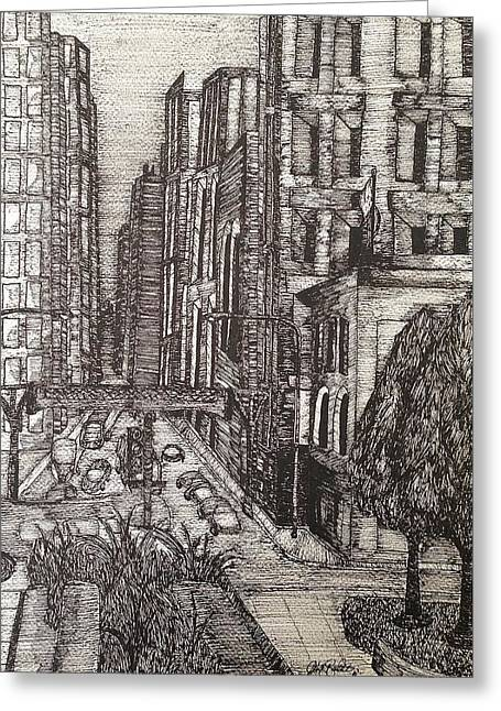 Windy City Mixed Media Greeting Cards - Chicago Greeting Card by Michael  Parrella