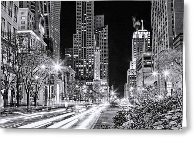 Water Tower Greeting Cards - Chicago Michigan Avenue Light Streak Black and White Greeting Card by Christopher Arndt