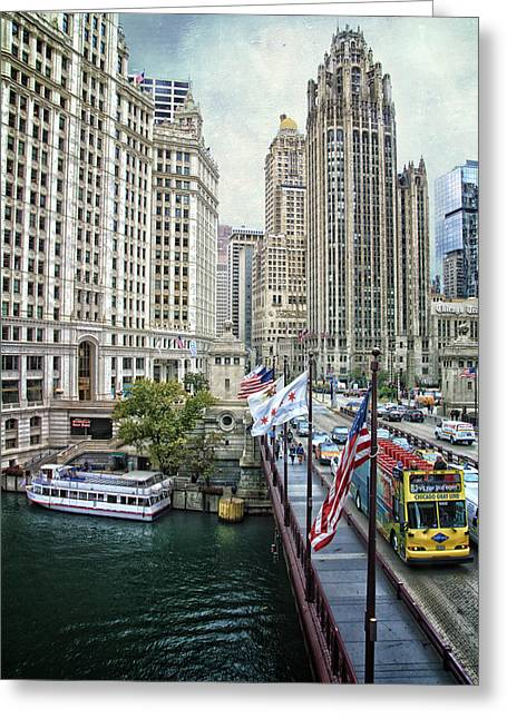 Facades Mixed Media Greeting Cards - Chicago Michigan Avenue V HDR Textured Greeting Card by Thomas Woolworth