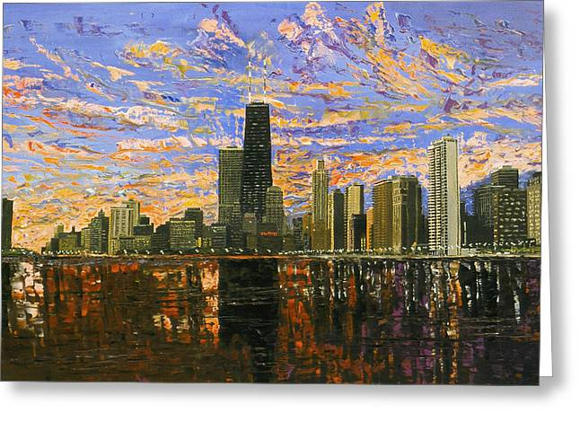 Chicago Paintings Greeting Cards - Chicago Greeting Card by Mike Rabe