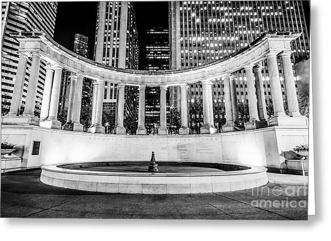 Greek Americans Greeting Cards - Chicago Millennium Monument Black and White Picture Greeting Card by Paul Velgos