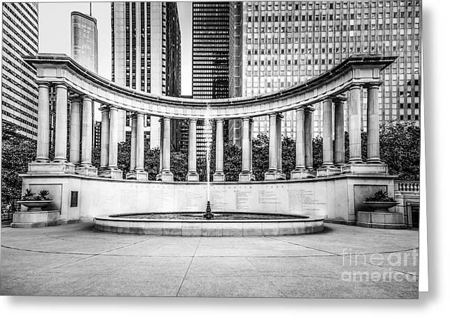 Greek Sculpture Greeting Cards - Chicago Millennium Monument in Black and White Greeting Card by Paul Velgos