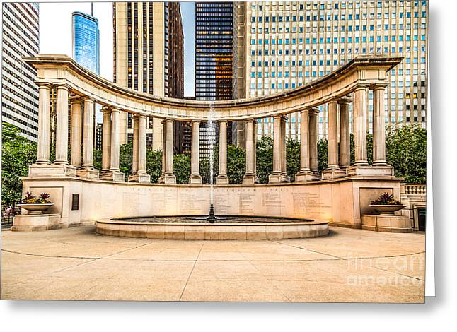 Greek Sculpture Greeting Cards - Chicago Millennium Monument in Wrigley Square Greeting Card by Paul Velgos