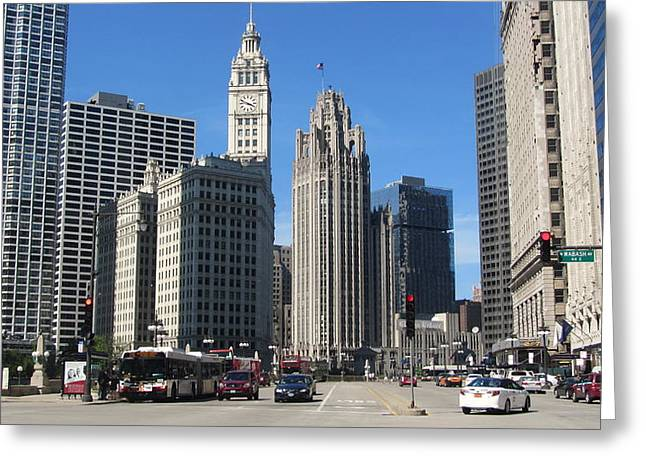 Bus Signs Greeting Cards - Chicago Miracle Mile 1 Greeting Card by Anita Burgermeister