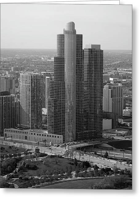 Chicago Modern Skyscraper Black And White Greeting Card by Thomas Woolworth