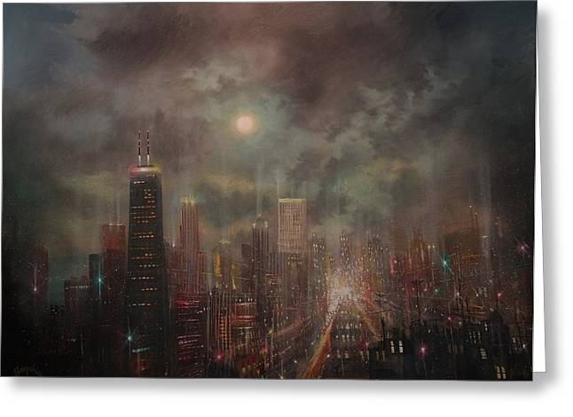 Chicago Moon Greeting Card by Tom Shropshire