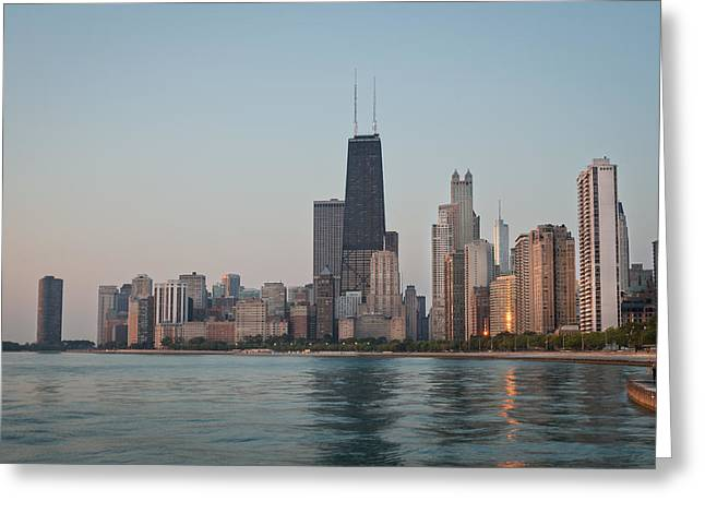 Hancock Greeting Cards - Chicago Morning Greeting Card by Steve Gadomski
