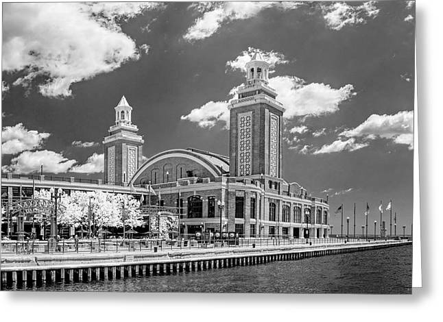 Dance Hall Greeting Cards - Chicago Navy Pier Black and White Greeting Card by Christopher Arndt