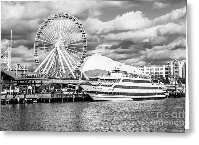 Black And White Photos Greeting Cards - Chicago Navy Pier Black and White Photo Greeting Card by Paul Velgos