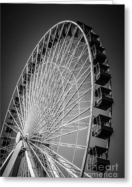 Wheels Photographs Greeting Cards - Chicago Navy Pier Ferris Wheel in Black and White Greeting Card by Paul Velgos