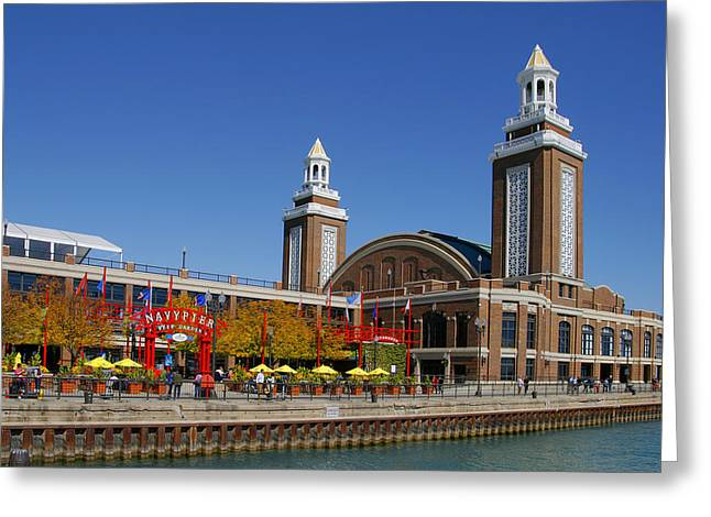 Navy Greeting Cards - Chicago Navy Pier Headhouse Greeting Card by Christine Till