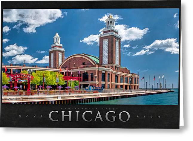Dance Hall Greeting Cards - Chicago Navy Pier Poster Greeting Card by Christopher Arndt