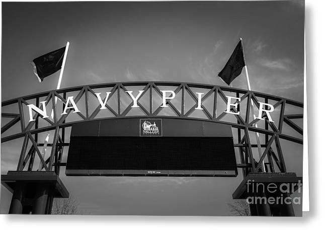 Black And White Photos Greeting Cards - Chicago Navy Pier Sign in Black and White Greeting Card by Paul Velgos