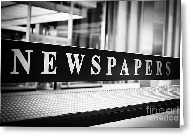 Operating Greeting Cards - Chicago Newspapers Stand Sign in Black and White Greeting Card by Paul Velgos