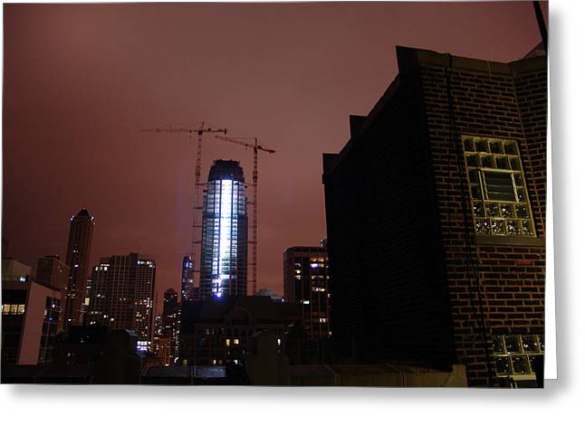 Emart Gallery Greeting Cards - Chicago night from skyscrapers roof Greeting Card by Mieczyslaw Rudek