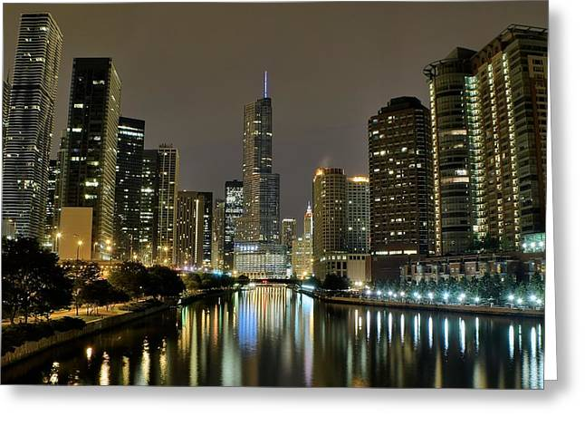High Park Fire Greeting Cards - Chicago Night River View Greeting Card by Frozen in Time Fine Art Photography