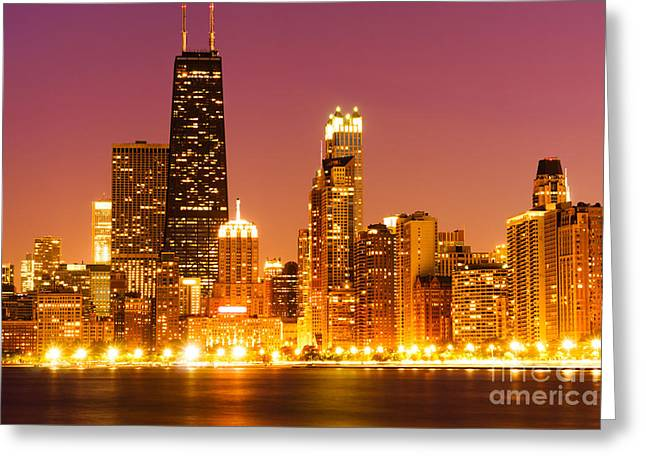 Colorful Photos Greeting Cards - Chicago Night Skyline with John Hancock Building Greeting Card by Paul Velgos