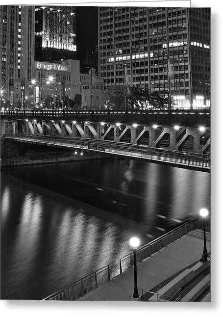 Chicago Bulls Greeting Cards - Chicago Nights Greeting Card by Frozen in Time Fine Art Photography