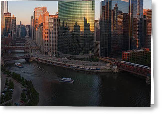 Train On Bridge Greeting Cards - Chicago On The River Greeting Card by Steve Gadomski