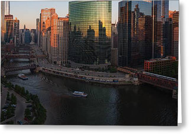 Chicago On The River Greeting Card by Steve Gadomski