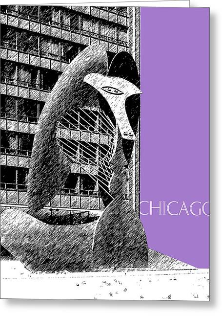 Pen And Ink Greeting Cards - Chicago Pablo Picasso - Violet Greeting Card by DB Artist