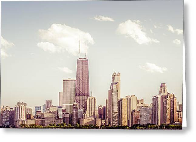 Chicago Prints Greeting Cards - Chicago Panorama Photo Greeting Card by Paul Velgos