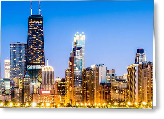 Architecture Greeting Cards - Chicago Panorama Skyline at Twilight Photo Greeting Card by Paul Velgos
