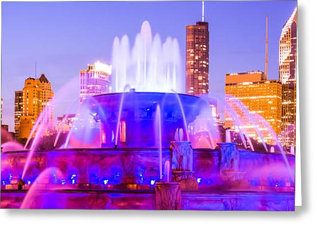 Fountain Print Greeting Cards - Chicago Panoramic Picture with Buckingham Fountain  Greeting Card by Paul Velgos