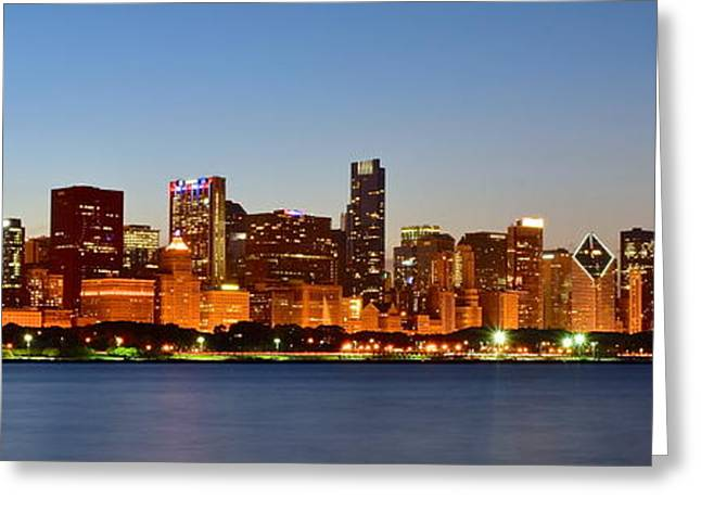 Chicago Bulls Greeting Cards - Chicago Panoramic View Greeting Card by Frozen in Time Fine Art Photography