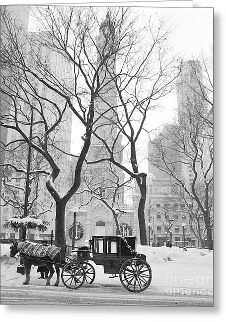 Chicago Prints Greeting Cards - Chicago Photography - Black and White Greeting Card by Horsch Gallery