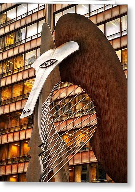 Picaso Greeting Cards - Chicago Picaso Statue HDR Greeting Card by Thomas Woolworth
