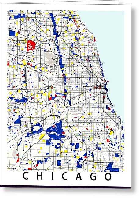 City Art Greeting Cards - Chicago Piet Mondrian Style City Street Map Art Greeting Card by Celestial Images
