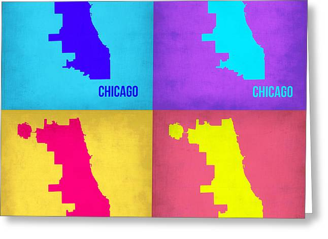 Chicago Pop Art Map 1 Greeting Card by Naxart Studio