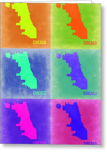 Chicago Art Greeting Cards - Chicago Pop Art Map 3 Greeting Card by Naxart Studio